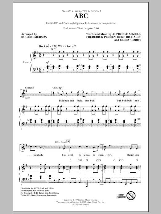 ABC (arr. Roger Emerson) Sheet Music