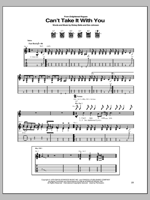 Can't Take It With You Sheet Music