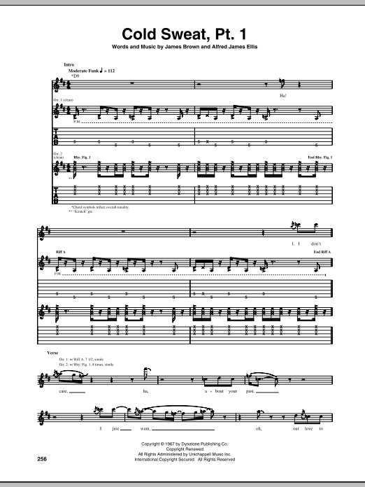 Tablature guitare Cold Sweat, Pt. 1 de James Brown - Tablature Guitare