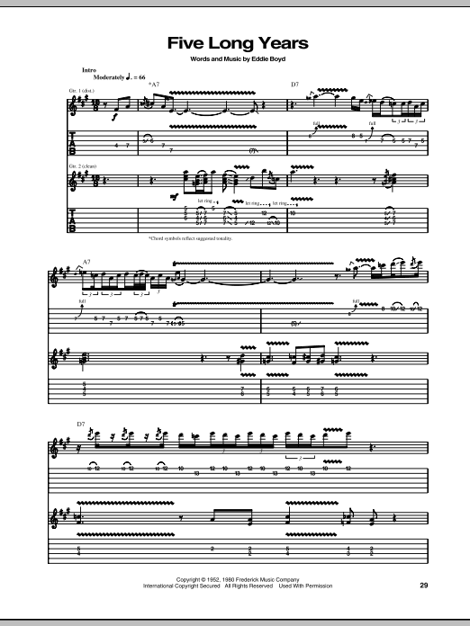 Five Long Years Sheet Music