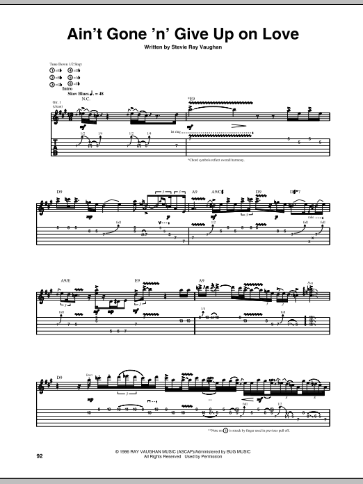 Ain't Gone 'n' Give Up On Love (Guitar Tab)