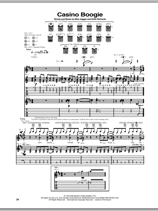Tablature guitare Casino Boogie de The Rolling Stones - Tablature Guitare