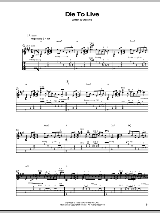 Die To Live Sheet Music