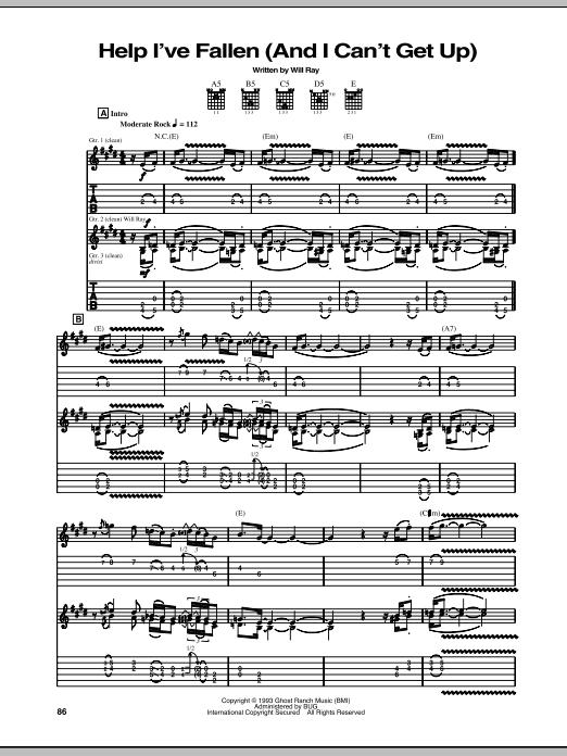 Help I've Fallen (And I Can't Get Up) Sheet Music