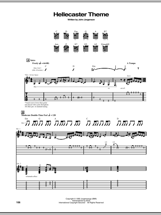 Hellecaster Theme (Guitar Tab)