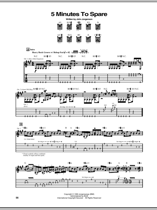 Tablature guitare 5 Minutes To Spare de The Hellecasters - Tablature Guitare