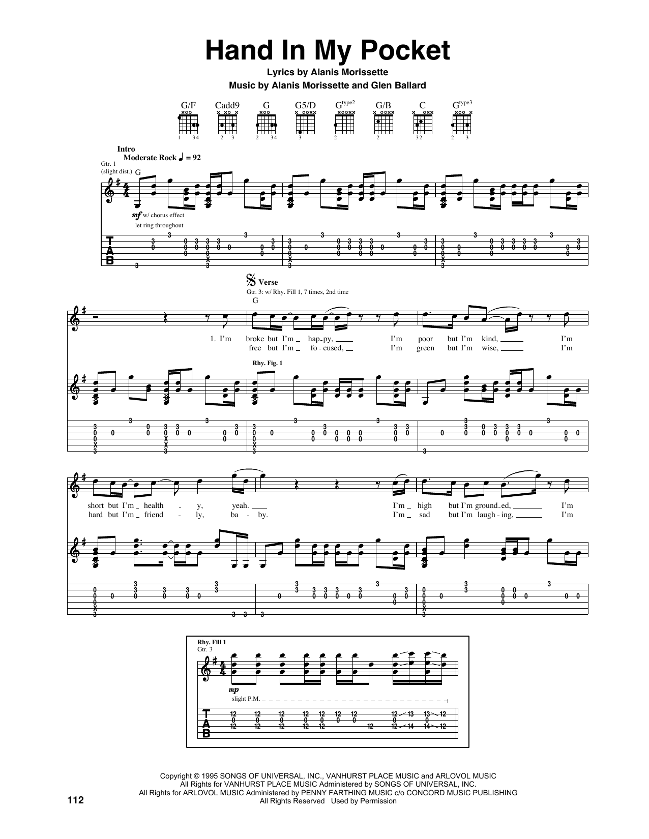 Tablature guitare Hand In My Pocket de Alanis Morissette - Tablature Guitare