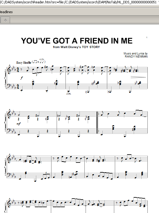 Partition piano You've Got A Friend In Me de Randy Newman - Piano Solo