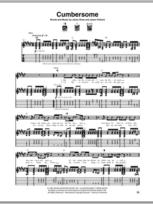 Tablature guitare Cumbersome de Seven Mary Three - Tablature Guitare