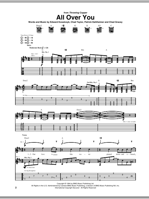 All Over You (Guitar Tab)