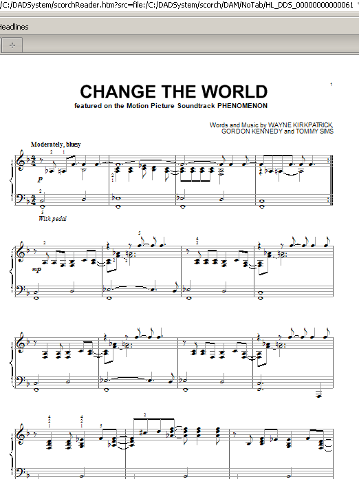 Partition piano Change The World de Eric Clapton - Piano Solo