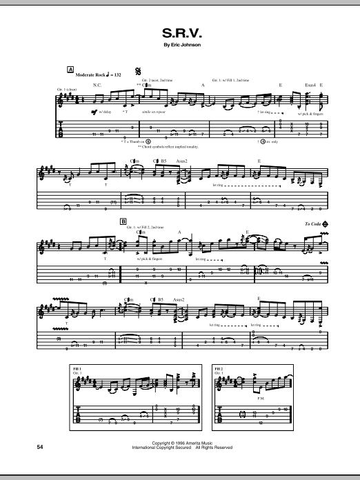 S.R.V. Sheet Music