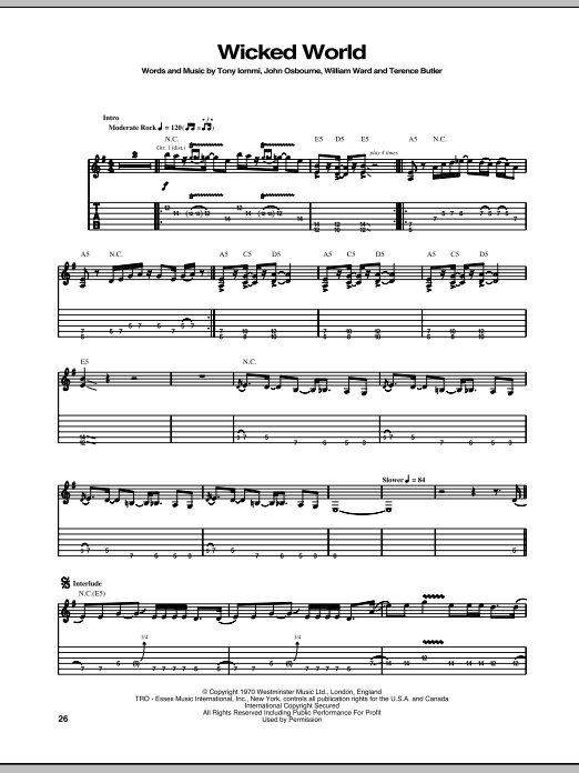 Wicked World Sheet Music