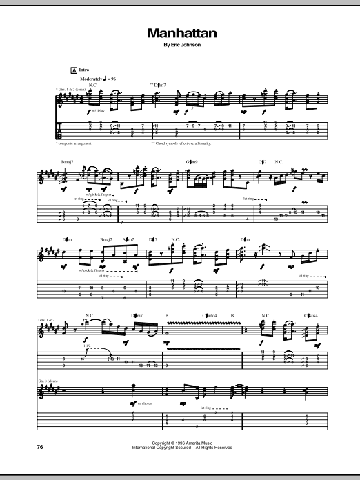 Tablature guitare Manhattan de Eric Johnson - Tablature Guitare