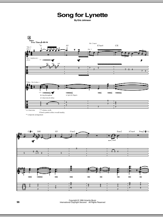 Song For Lynette Sheet Music