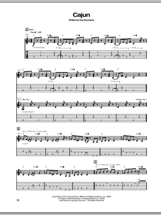 Cajun (Guitar Tab)