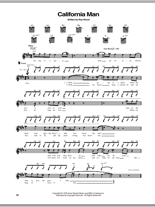 Tablature guitare California Man de Cheap Trick - Tablature Guitare