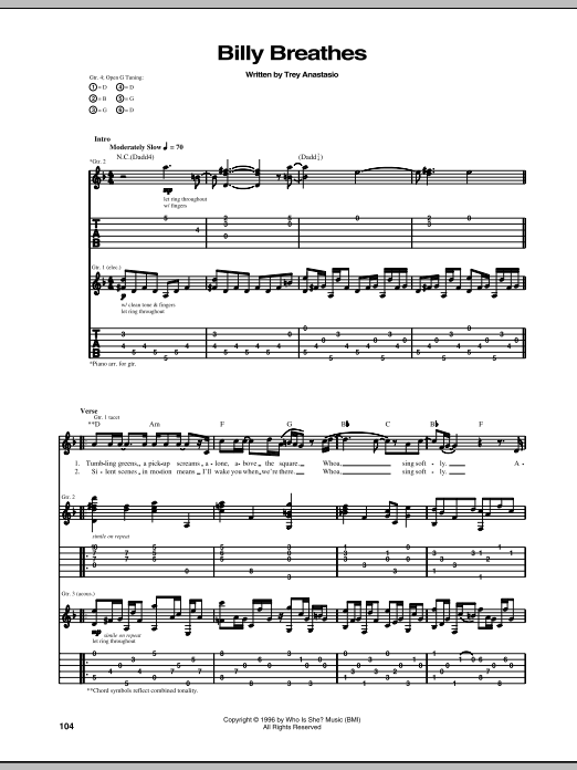 Billy Breathes (Guitar Tab)