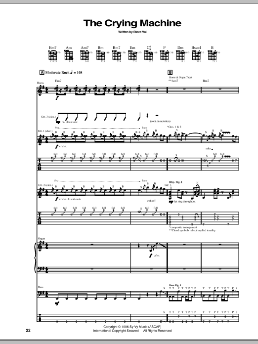 Tablature guitare The Crying Machine de Steve Vai - Tablature Guitare