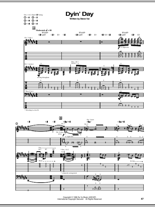 Dyin' Day Sheet Music