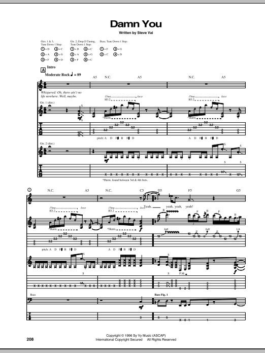 Tablature guitare Damn You de Steve Vai - Tablature Guitare