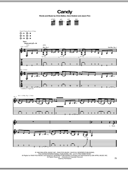 Tablature guitare Candy de Presidents Of The United States Of America - Tablature Guitare