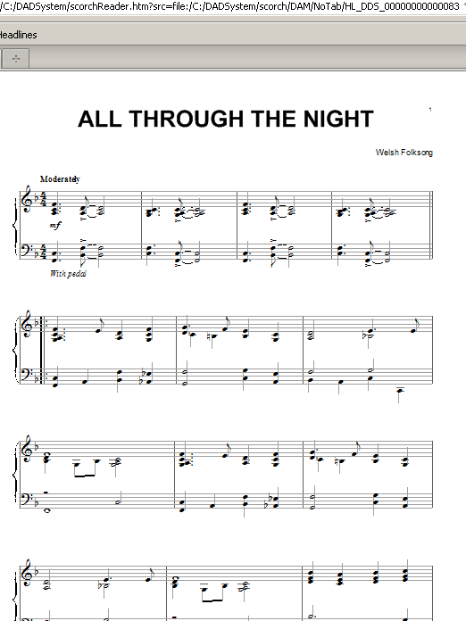 Partition piano All Through The Night de Welsh Folksong - Piano Solo