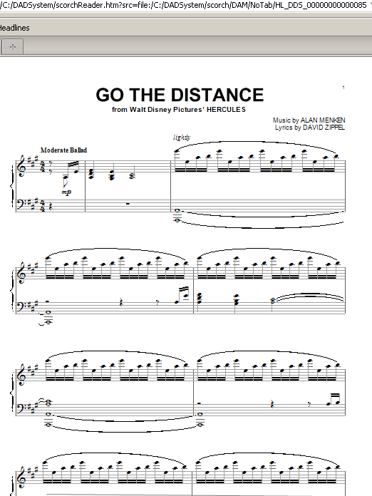 Go The Distance (Piano Solo)