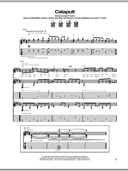 Tablature guitare Catapult de Counting Crows - Tablature Guitare