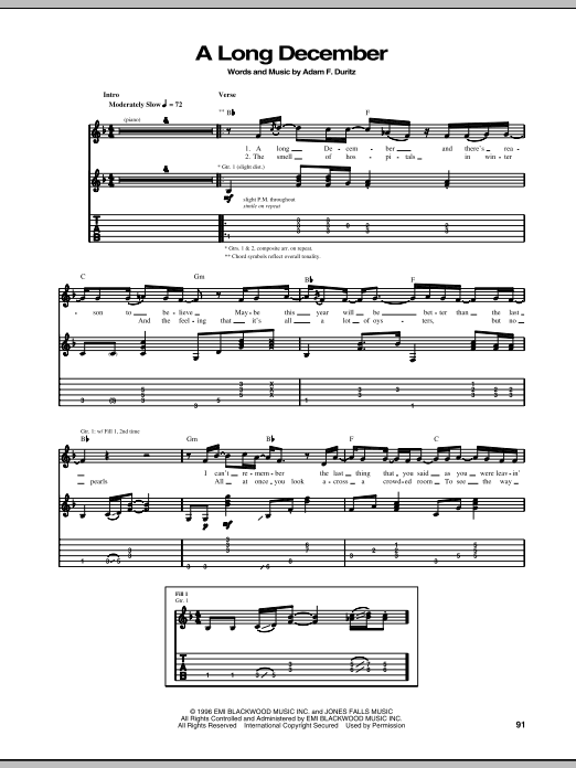 Tablature guitare A Long December de Counting Crows - Tablature Guitare