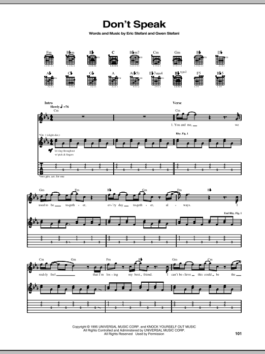 Dont Speak Guitar Tab By No Doubt Guitar Tab 68860