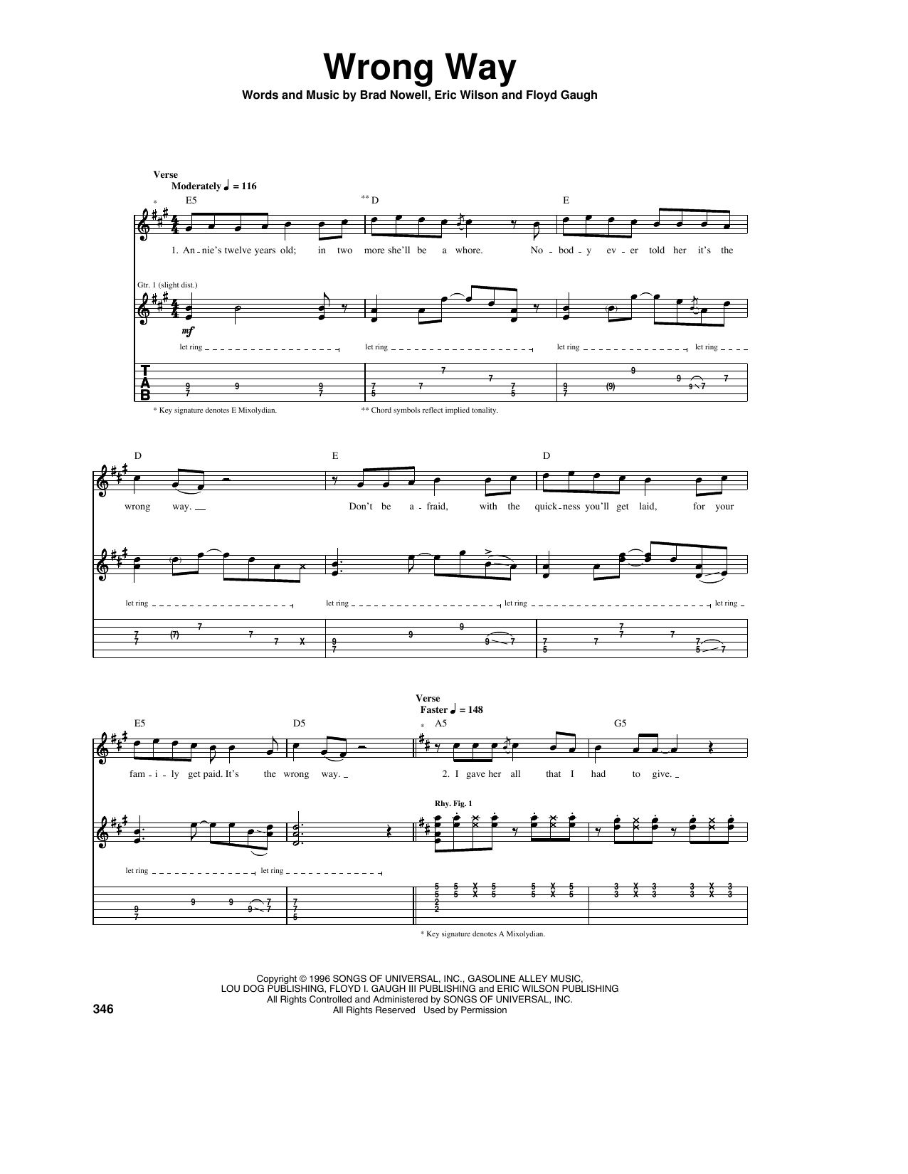 Wrong Way Sheet Music