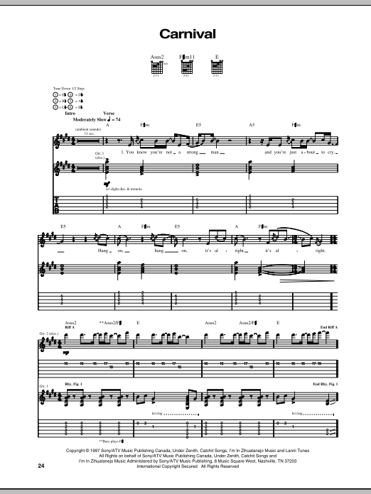 Tablature guitare Carnival de Our Lady Peace - Tablature Guitare