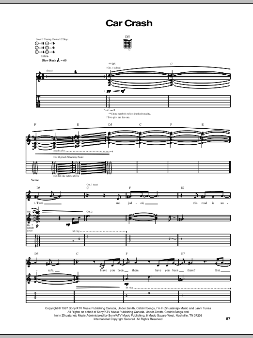 Car Crash Sheet Music