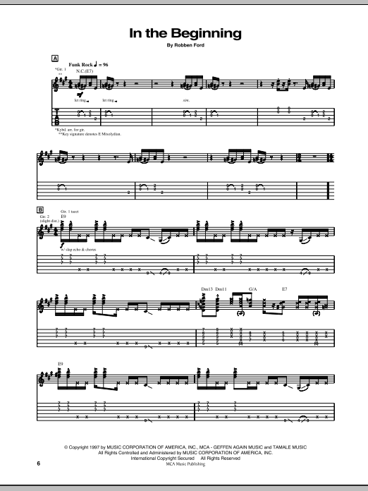 Tablature guitare In The Beginning de Robben Ford - Tablature Guitare