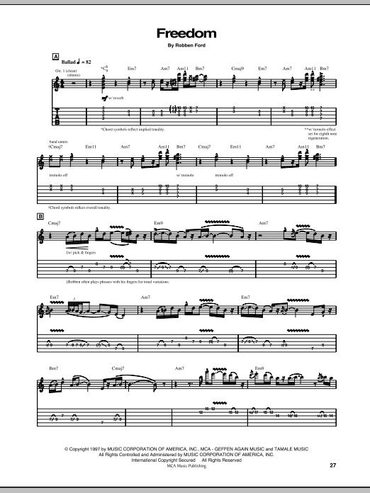 Tablature guitare Freedom de Robben Ford - Tablature Guitare