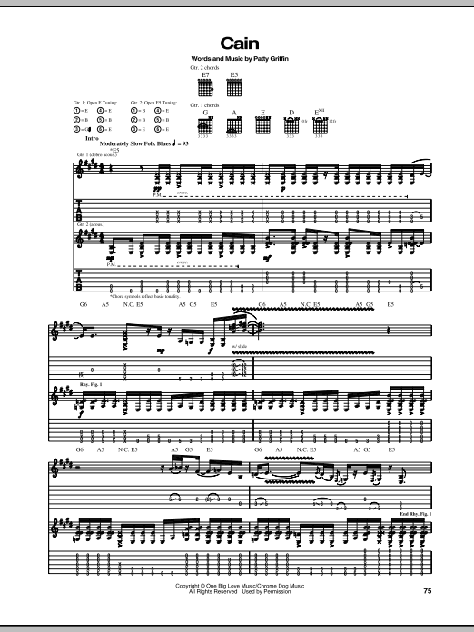 Tablature guitare Cain de Patty Griffin - Tablature Guitare