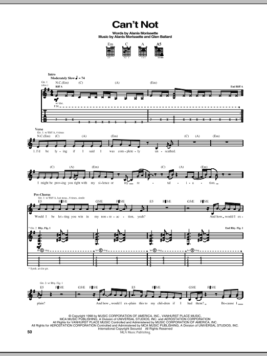 Can't Not (Guitar Tab)