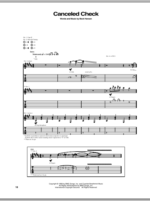 Tablature guitare Canceled Check de Beck - Tablature Guitare