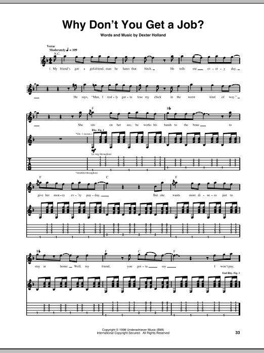 Tablature guitare Why Don't You Get A Job? de The Offspring - Tablature Guitare