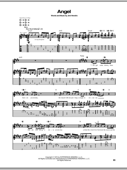 Tablature guitare Angel de Jimi Hendrix - Tablature Guitare