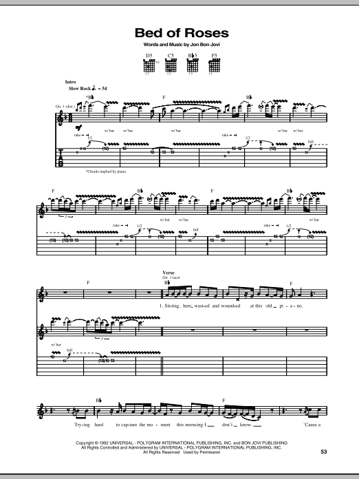 Tablature guitare Bed Of Roses de Bon Jovi - Tablature Guitare