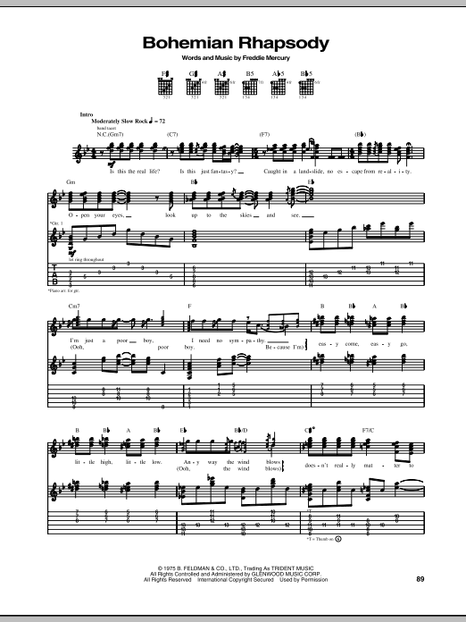Bohemian Rhapsody Guitar Tab by Queen (Guitar Tab u2013 68784)