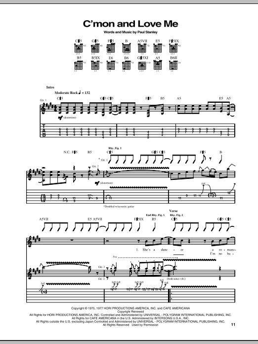 C'mon And Love Me (Guitar Tab)