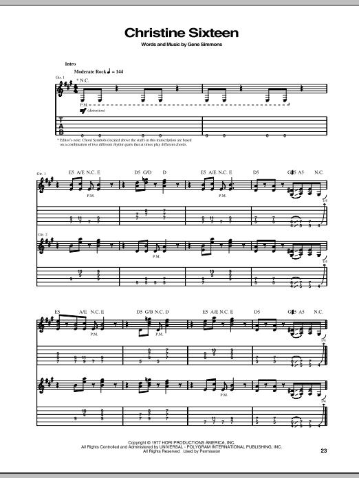 Christine Sixteen Sheet Music