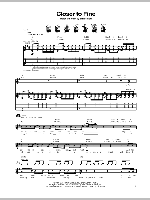 Tablature guitare Closer To Fine de Indigo Girls - Tablature Guitare