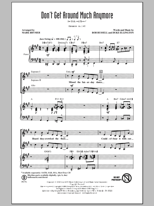 Don't Get Around Much Anymore (arr. Mark Brymer) (SSA Choir)