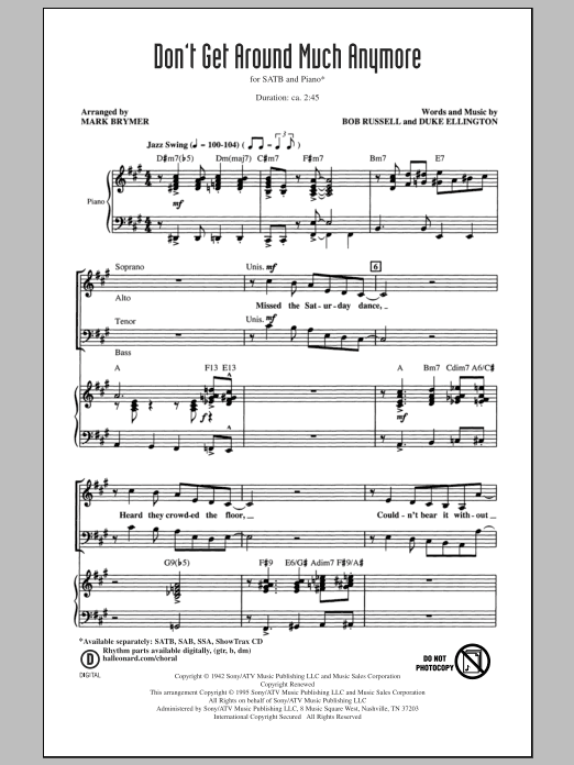 Partition chorale Don't Get Around Much Anymore de Duke Ellington - SATB