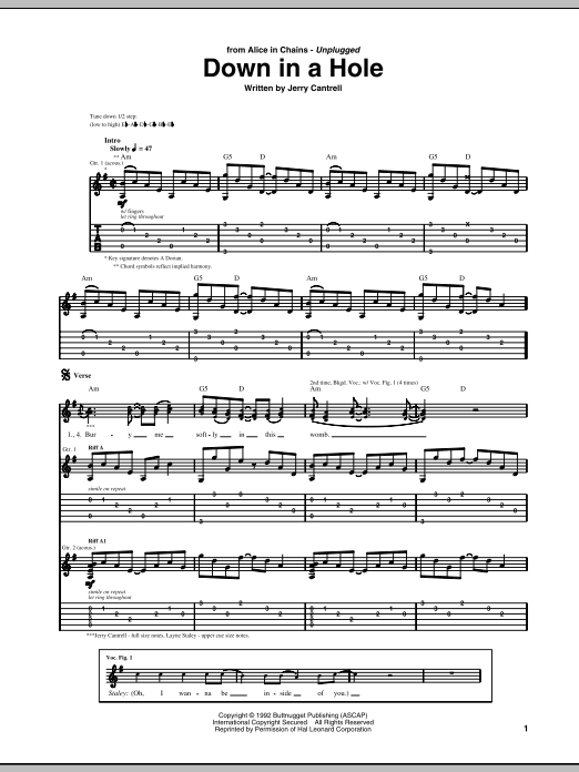 Down In A Hole Sheet Music