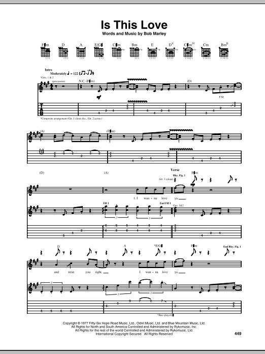 Is This Love Guitar Tab by Bob Marley (Guitar Tab u2013 68931)